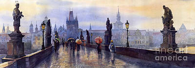 Watercolour Painting - Prague Charles Bridge by Yuriy  Shevchuk