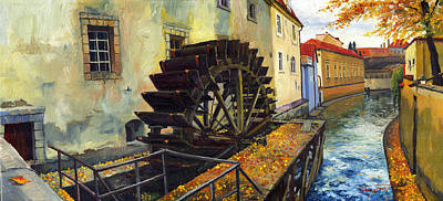 Landscape Oil Painting - Prague Chertovka by Yuriy  Shevchuk