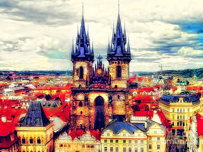 Praha Painting - Prague Church Of Our Lady Before Tyn Watercolor by Justyna JBJart