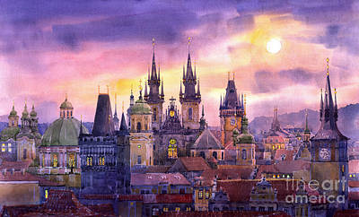 Prague City Of Hundres Spiers Variant Art Print by Yuriy  Shevchuk