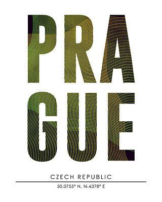 Mixed Media - Prague, Czech Republic - City Name Typography - Minimalist City Posters by Studio Grafiikka