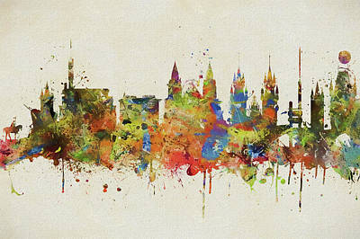 Painting - Prague Colorful Skyline by Dan Sproul