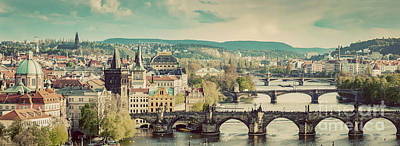 Panoramic Photograph - Prague, Czech Republic Bridges Skyline With Historic Charles Bridge by Michal Bednarek