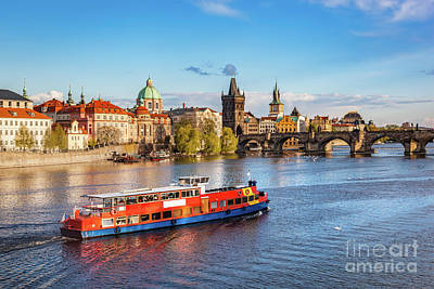 Prague, Czech Republic. Charles Bridge, Boat Cruise On Vltava River Art Print by Michal Bednarek