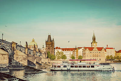 Photograph - Prague, Czech Republic. Charles Bridge, Boat Cruise On Vltava River. Vintage by Michal Bednarek