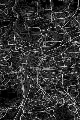 Czech Republic Digital Art - Prague Czech Republic Dark Map by Jurq Studio