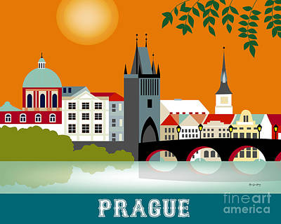 Vltava River Digital Art - Prague Czech Republic Horizontal Scene by Karen Young