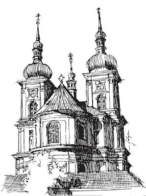 Prague Drawing - Prague by Krzysztof Chodyra