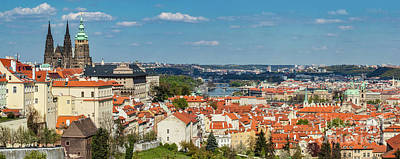 Photograph - Prague, Czech Republic Panorama. St. Vitus Cathedral Over Old Town Red Roofs. by Michal Bednarek