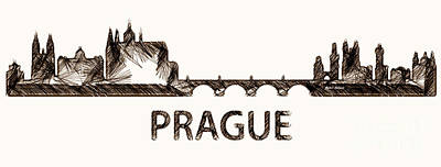 Digital Art - Prague Czech Republic Silouhette Sketch  by Rafael Salazar