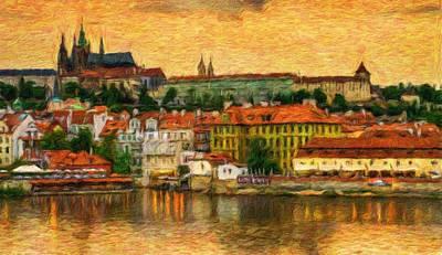 Prague From Charles Bridge At Sunset Art Print