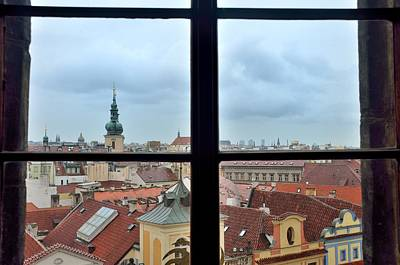Window Photograph - Prague From Old Town Hall Tower by Steven Richman