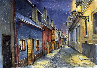 Prague Golden Line Winter Art Print by Yuriy  Shevchuk