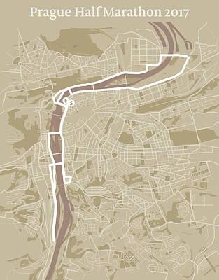 Czech Digital Art - Prague Half Marathon #1 by Big City Artwork