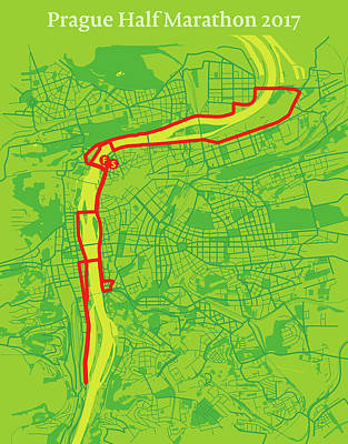Prague Digital Art - Prague Half Marathon #2 by Big City Artwork