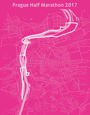 Prague Digital Art - Prague Half Marathon Magenta by Big City Artwork