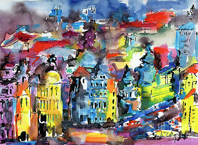 Painting - Prague Impressions Modern Watercolor And Ink by Ginette Callaway