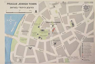 Photograph - Prague Jewish Town Map by Caroline Stella