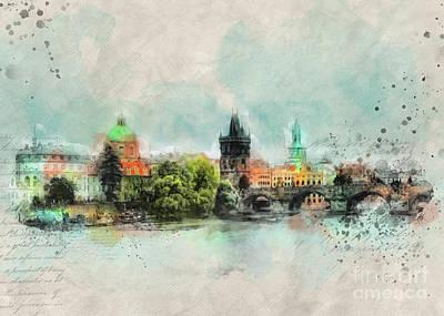 Praha Digital Art - Prague by Justyna JBJart