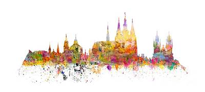 Cityspace Mixed Media - Prague Landmarks by Michal Boubin