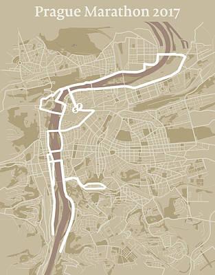 Prague Digital Art - Prague Marathon #1 by Big City Artwork