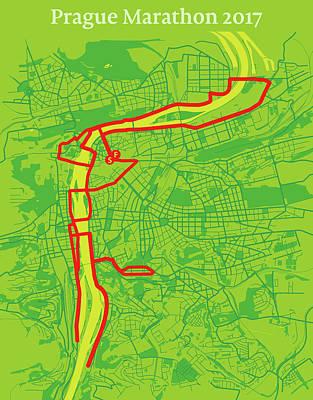 Prague Digital Art - Prague Marathon #2 by Big City Artwork