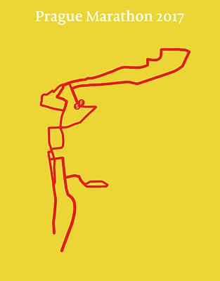 Prague Digital Art - Prague Marathon Line by Big City Artwork