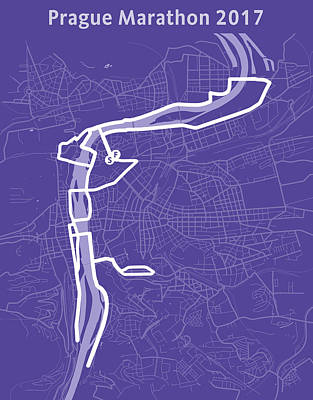 Czech Digital Art - Prague Marathon Purple by Big City Artwork