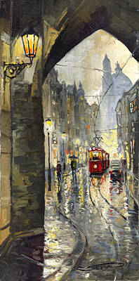 Old Tram Painting - Prague Mostecka Street by Yuriy  Shevchuk