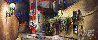 On Paper Painting - Prague Novy Svet Kapucinska Str by Yuriy  Shevchuk