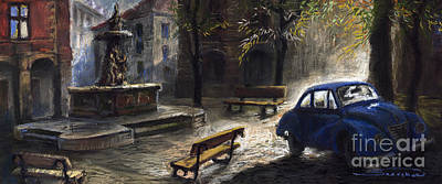 Fountain Painting - Prague Old Fountain by Yuriy  Shevchuk