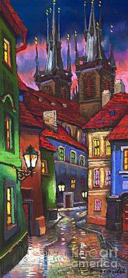 Night Painting - Prague Old Street 01 by Yuriy  Shevchuk