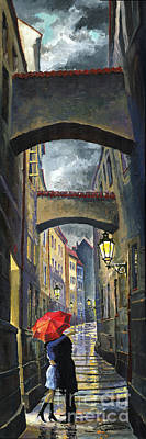 Street Lights Painting - Prague Old Street Love Story by Yuriy  Shevchuk
