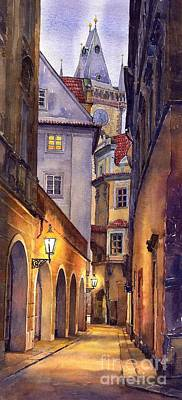 Watercolour Painting - Prague Old Street  by Yuriy Shevchuk