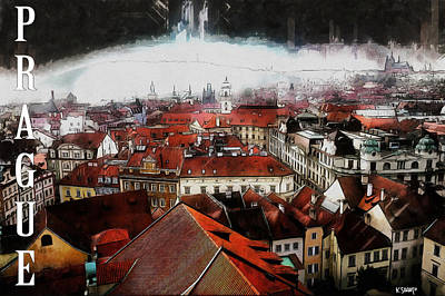 Painting - Prague Old Town Poster by Kai Saarto
