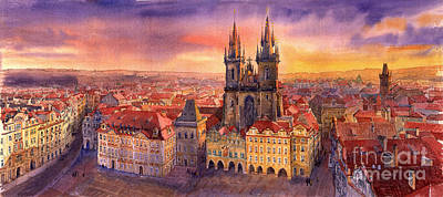 Prague Old Town Square 02 Art Print by Yuriy  Shevchuk