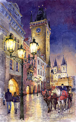 Watercolour Painting - Prague Old Town Square 3 by Yuriy  Shevchuk