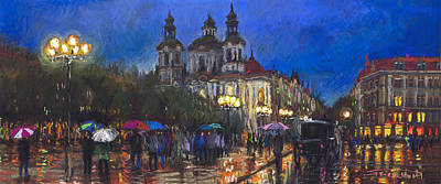 On Paper Pastel - Prague Old Town Square St Nikolas Ch by Yuriy  Shevchuk