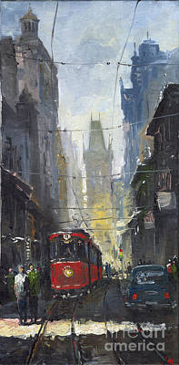 Rainy Painting - Prague Old Tram 05 by Yuriy  Shevchuk