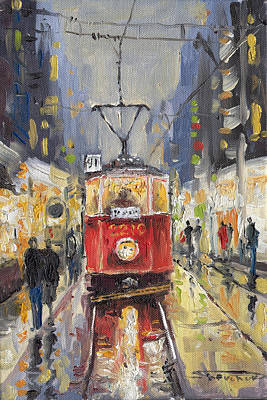 Night Painting - Prague Old Tram 08 by Yuriy  Shevchuk