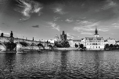 Photograph - Prague On The Water Black And White by Sharon Popek