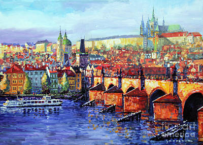 Prague Panorama Charles Bridge 07 Art Print by Yuriy Shevchuk
