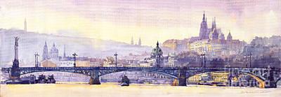 Europe Painting - Prague Panorama Chehuv Bridge by Yuriy  Shevchuk
