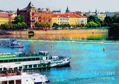 Praha Painting - Prague Panorama Watercolor by Justyna JBJart