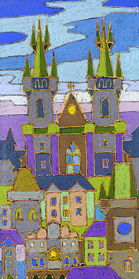 Building Wall Art - Painting - Prague Panorama by Yuriy Shevchuk