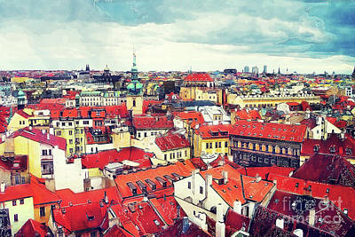 Prague Painting - Prague Panorame City by Justyna JBJart