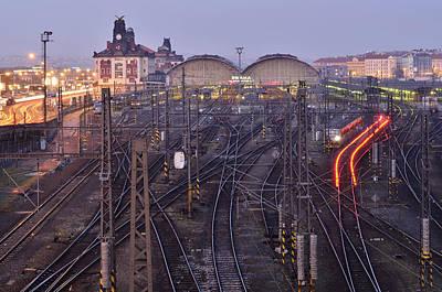 Photograph - Prague Railway Station At Dusk by Marek Stepan