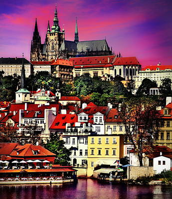 River Front Dining In Prague  Art Print by Russ Harris