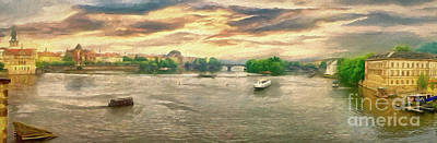 Photograph - Prague River Panorama From Charles Bridge by Leigh Kemp