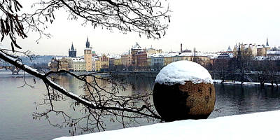 Prague Riverbank In Winter Art Print by Radka Zimova King